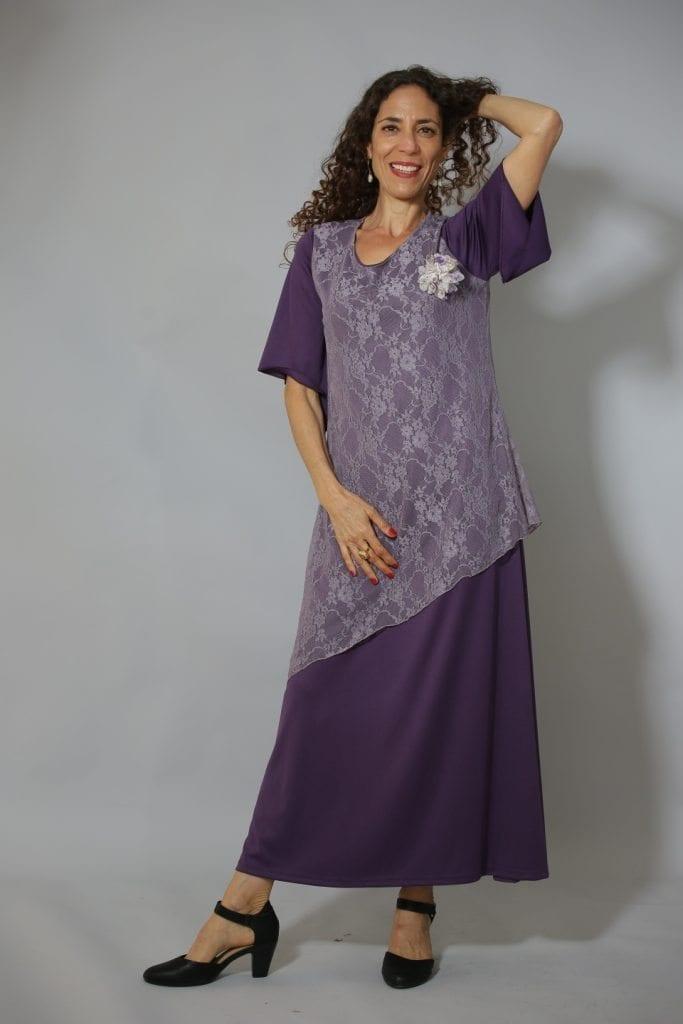 שמלת ערב קומות תחרה סגולה