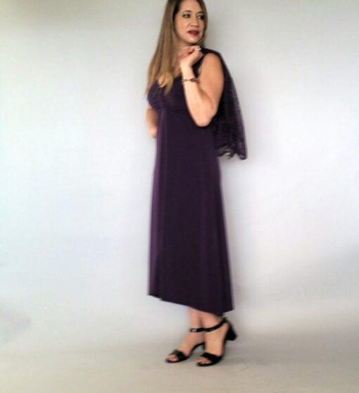 שמלת ערב שחורה עם שסע