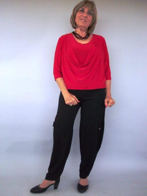 חולצת רבידה בצבע אדום