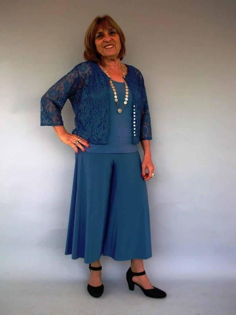 חצאית מכנסיים כחול ג'ינס בהיר