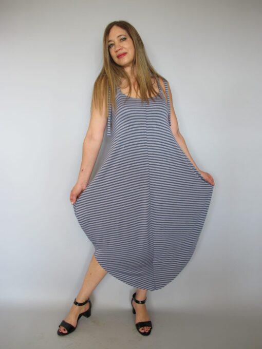 שמלת טריקו כתפיות אפור ג'ינס פסים