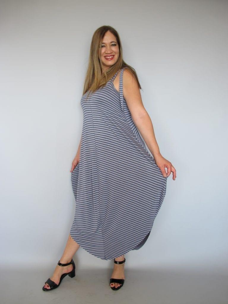 שמלת טריקו אפור ג'ינס פסים