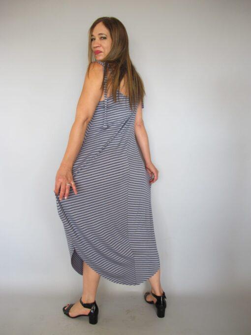 שמלת טריקו -כתפיות אפור ג'ינס פסים אחורי