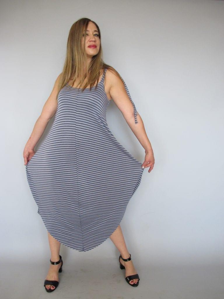 שמלת טריקו -כתפיות אפור ג'ינס פסים