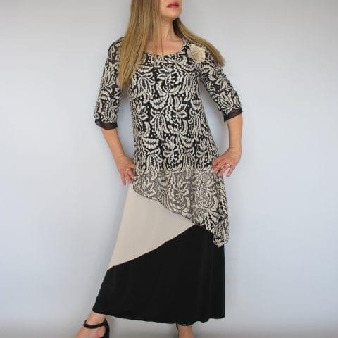 שמלת ערב קומות תחרה שחור בז'