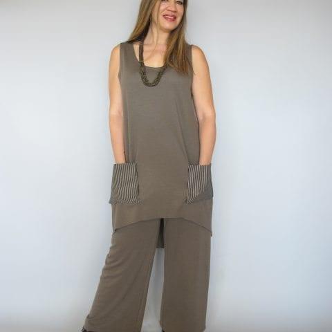חליפת מכנסיים בצבע חום זית
