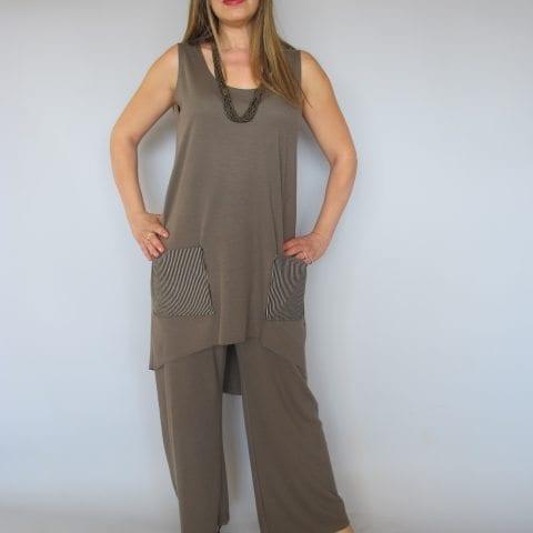חליפת מכנסיים סריג