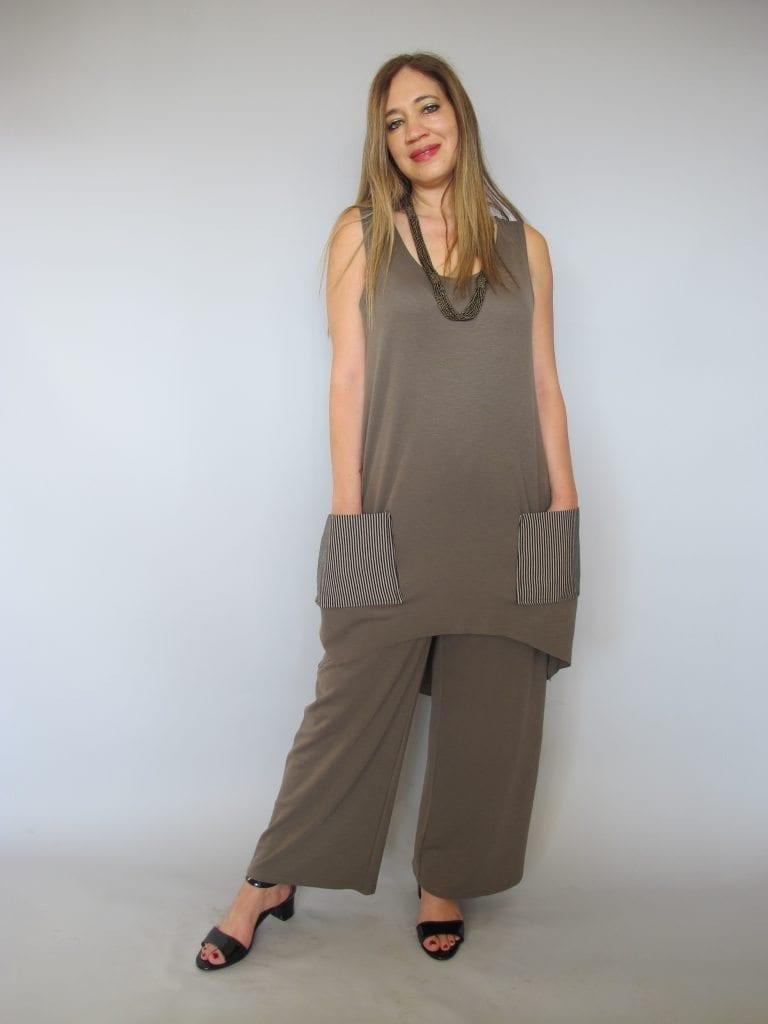 חליפת מכנסיים סריג צבע חום זית