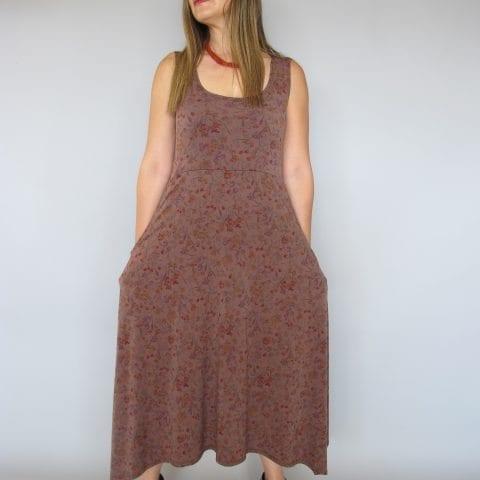 שמלה עלמא חום פרחוני