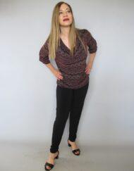 חולצת רבידה הדפס אתני צבע סגול
