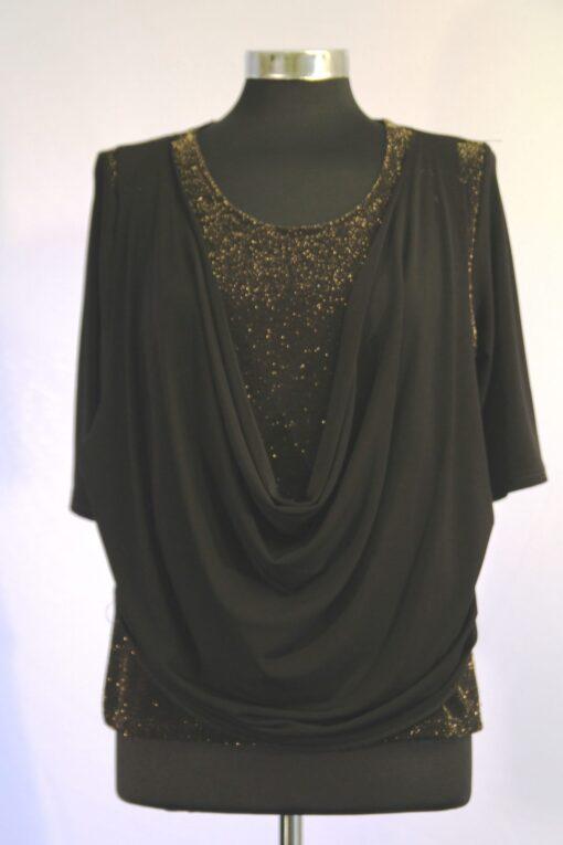 חולצת רבידה שחורה