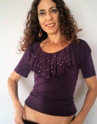 חולצת וולנים עם פייטים סגול