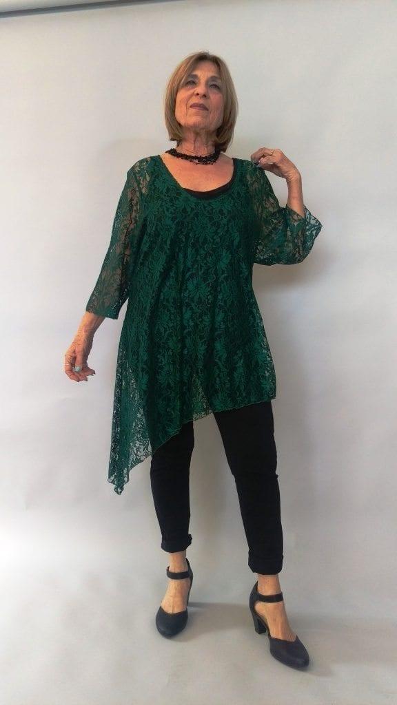 טוניקה תחרה בצבע ירוק