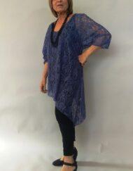 טוניקה תחרה בצבע כחול ג'ינס