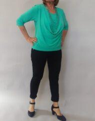 חולצת רבידה בצבע טורקיז
