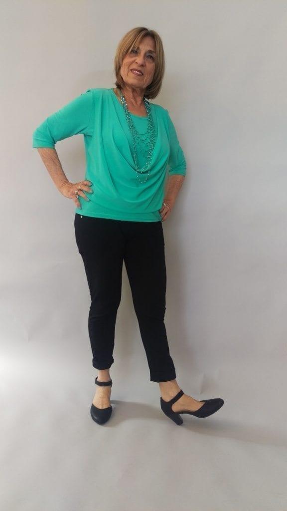 חולצת רבידה צבע טורקיז