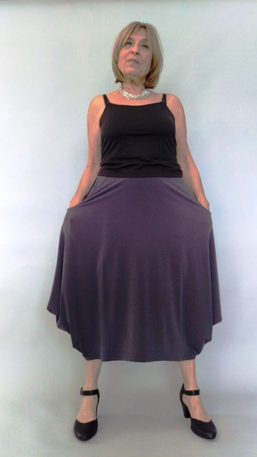 חצאית עלמא כיסים אפורה