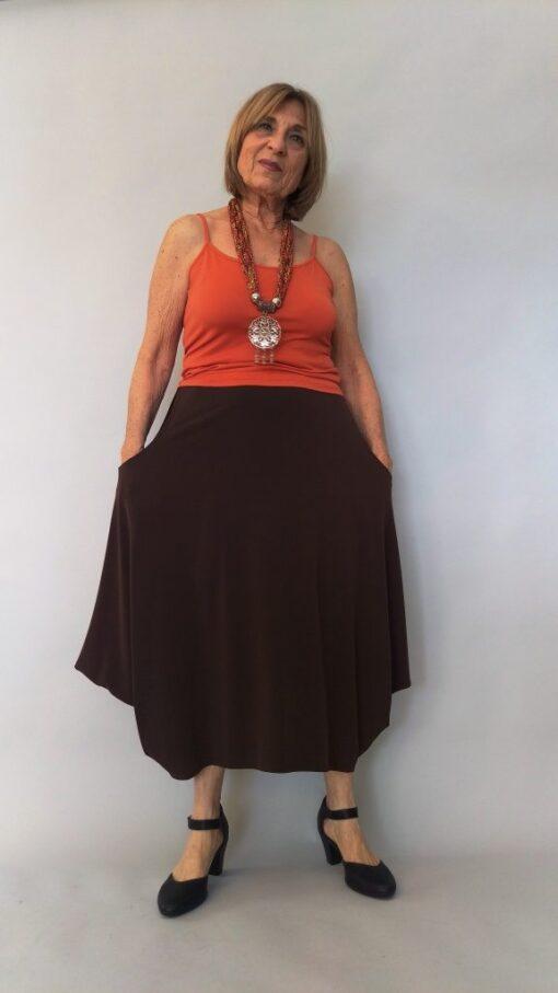 חצאית עלמא כיסים חומה