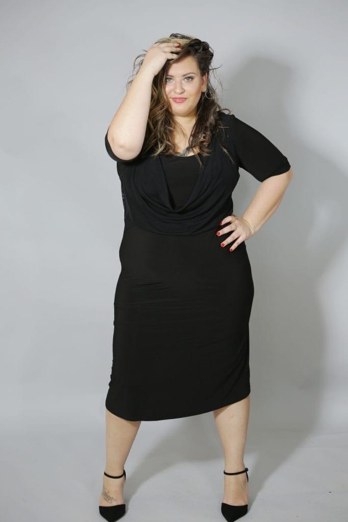 שמלת רבידה שחורה